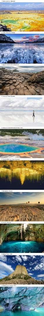 1. Вулкан Даллол, Эфиопия 2. Озеро Эйбрахам, Канада 3. Дорога гигантов, Великобритания * Л 5. Большой призматический источник, США 6. Пещеры Вайтомо, Новая Зеландия 9. Девилз-Тауэр, США 10. Мраморная пещера, Чили