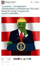 "Donald J. TVump >?fe^Donak3Trump O *-2- Mmaib ""@codyave: @drudgereport @BreitbartNews @Writeintrump ""You Can't Stump the Trump"" youtube.com /watch?v=MKH6PA... "" 6 n nQpesofl 927 1 149 Hft mat, ao'- si 11 53-13 oct 2015"