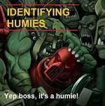 I IDENTIFYING \i-mi. Yep boss, it's a humie! 1 K// / / >— / k/# « Yf * % M