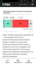 7:27 1,63К/с ©..Ц  СШ 69% Й1РБК. Прямой эфир По вашему мнению, кто виноват в отравлении Скрипалей Октябрь 2018 года, % от тех опрошенных, кто слышал об отравлении Российские АнглийскиеЭто мог быть спецслужбы спецслужбыкто угодно 1 Затруднились ответить Источник: итоги опроса Левада-цен
