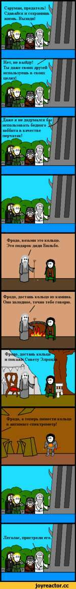 Фродо, возьми это кольцо. Это подарок дяди Бильбо. Фродо, достань кольцо из камина. Оно холодное, точно тебе говорю. / ----------------- Фродо, а теперь помести кольцо в антимасс-спектрометр!